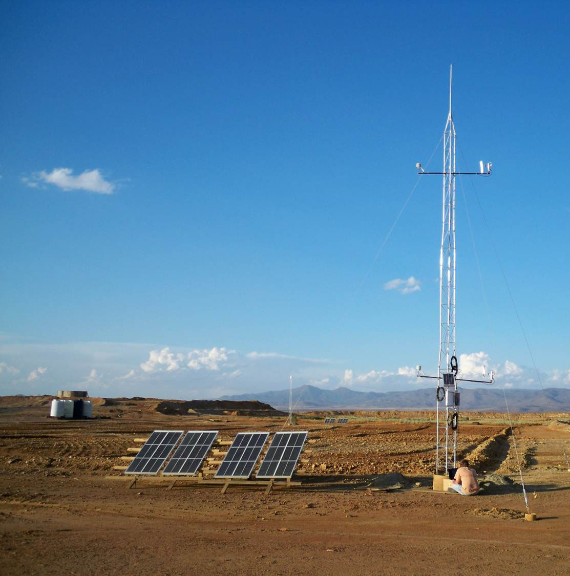 10-meter dust flux tower (1 of 2) designed to measure meteorological parameters and vertical dust fluxes from the contaminated tailings.